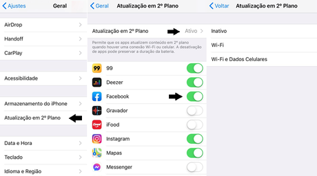 Atualizar o Facebook e outros apps em 2º plano