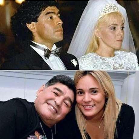 Acima, Maradona e Claudia na cerimônia de casamento, em 1989; abaixo, o ex-jogador com Rocío