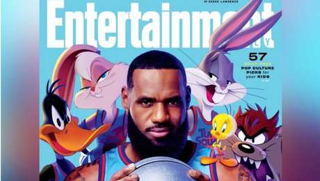 LeBron James junto com os Looney Tunes em capa da Entertainment Weekly