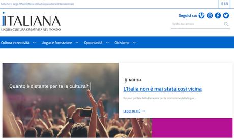 Homepage do site 'Italiana'