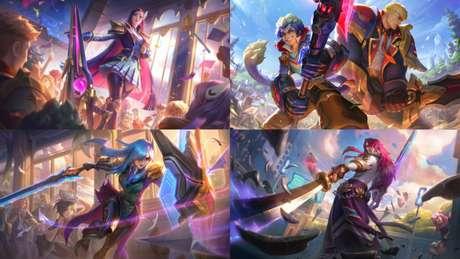 Skins Academia de Batalha para Caitlyn, Wukong, Garen, Leona e Yone
