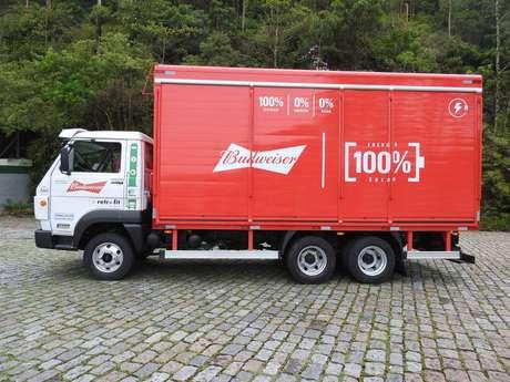 Caminhãoda Ambev que foi transformado de diesel para elétrico pela empresa Eletra.
