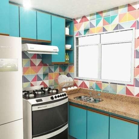 39. Cozinha com azulejo retro colorido – Foto Pinterest