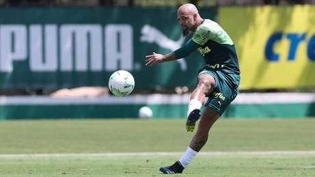 Felipe Melo durante treinamento na Academia de Futebol (Foto: Cesar Greco/Palmeiras)