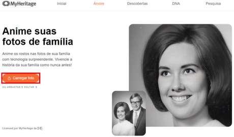 Página inicial do Deep Nostalgia (Imgem: Reprodução/MyHeritage/D-ID)