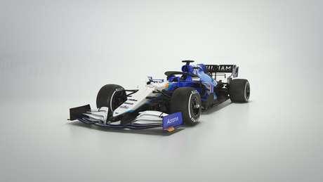 Visto de frente o novo FW43B, o carro da Williams para a temporada 2021 da F1