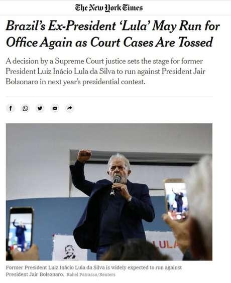 Reportagem do jornal americanoThe New York Timesdestaca decisão de Fachin que anulou condenações de Lula