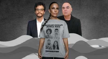 O ator Wagner Moura, a cantora Ivete Sangalo (vestindo a camiseta da campanha contra o trabalho escravo) e o estilista Reinaldo Lourenço: união de forças contra a exploração de pessoas