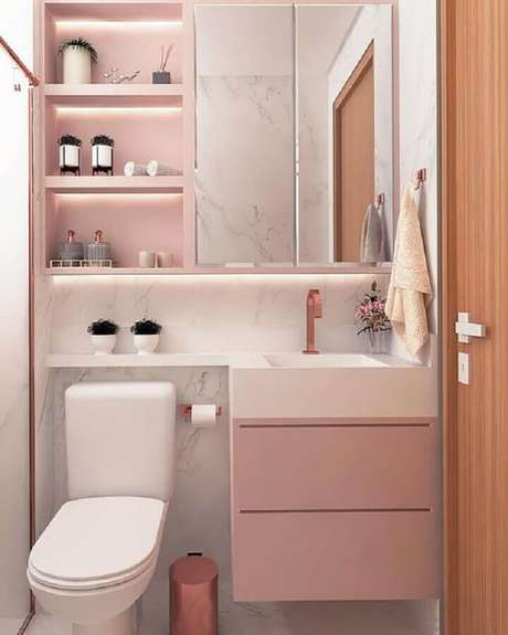 49. Espelheira para banheiro feminino decorado em cor de rosa e branco – Foto Pinterest