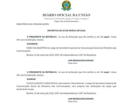 Demissão de Fábio Wajngarten e nomeação de Flávio Rocha foramoficializadas em edição do Diário Oficial da União na madrugada desta quinta-feira, 11.