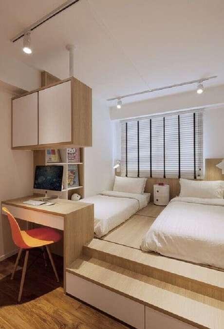 48. Decoração de home office no quarto duplo planejado. Foto: Pinterest