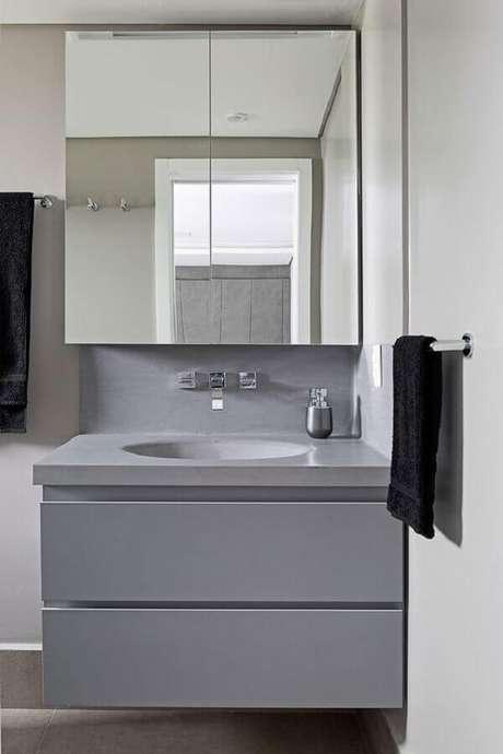 11. Armário espelheira para banheiro pequeno decorado com gabinete cinza suspenso – Foto Casa de Valentina