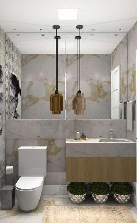 18. Bancada de mármore para banheiro pequeno e moderno – Foto Arkpad