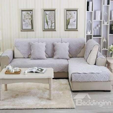 16. Capa de sofa lilás para sofá cinza – Foto Beddinginn