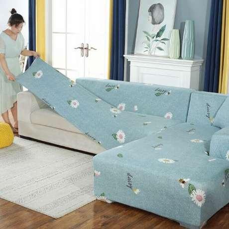 9. Capa de sofá estampada de flores para sofá de canto – Foto AliExpress