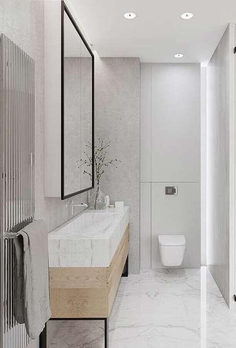 50. Decoração minimalista com bancada de mármore para banheiro – Foto Pinterest