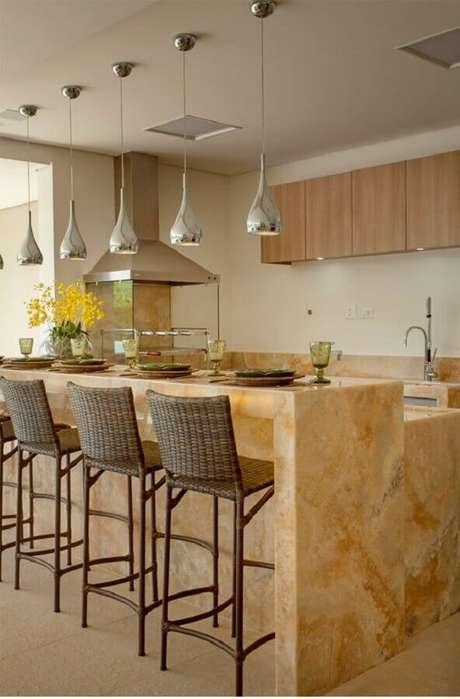 5. Pedra de mármore para bancada de área gourmet decorada com churrasqueira de vidro – Foto Decor Salteado
