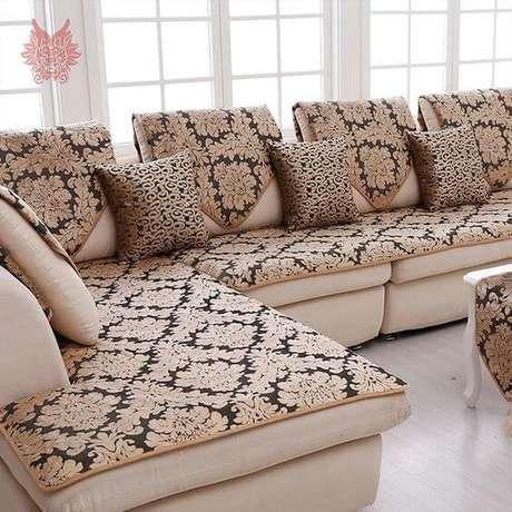 8. Capa de sofá de canto com estampa chique – Foto Ali Express
