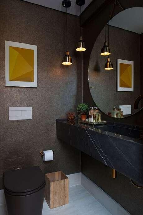 62. Bancada de mármore preto para decoração de banheiro moderno e sofisticado – Foto Casa de Valentina