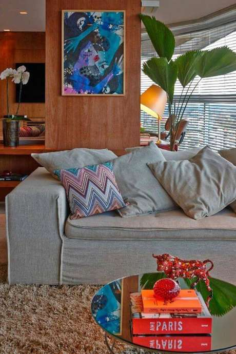 41. Capa de sofá cinza moderna – Foto Pinterest
