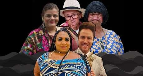 Acima, Christina Rodrigues, Jotinha e Rodela; abaixo, Ygona Moura e Kleber Lopes: talentos da comédia interrompidos pela covid-19