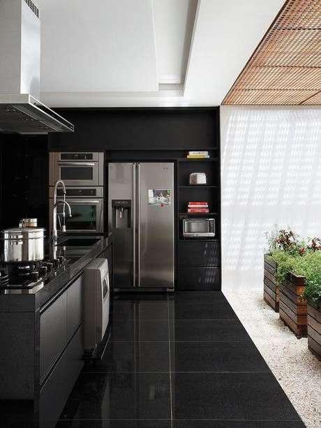 7. Ceramica para cozinha preta que imita granito – Foto Pinterest