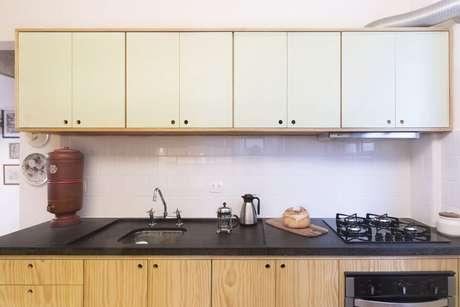 35. Cerâmica para cozinha que imita tijolinhos brancos – Foto Ina Arquitetura