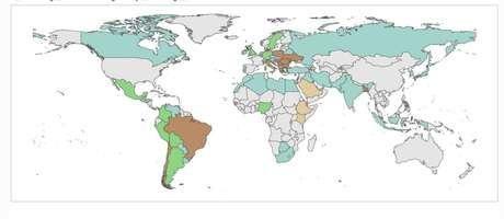 Gráfico mostra expansão de pandemia de covid-19 no mundo; nos países em marrom, como Brasil, pandemia está acelerando