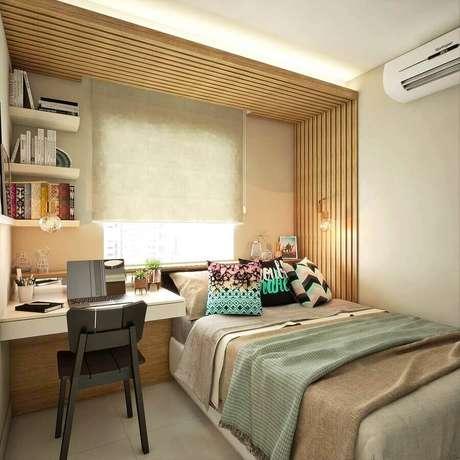 53. Escrivaninha suspensa para decoração de quarto feminino pequeno – Foto Homify