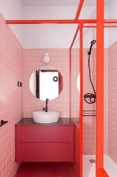 32. Decoração moderna com azulejo de banheiro cor de rosa. Foto: Behance