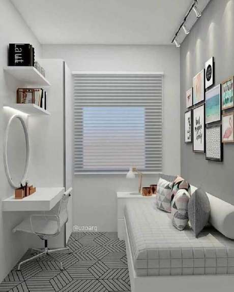 44. Decoração para quarto pequeno feminino branco e cinza – Foto Pinterest
