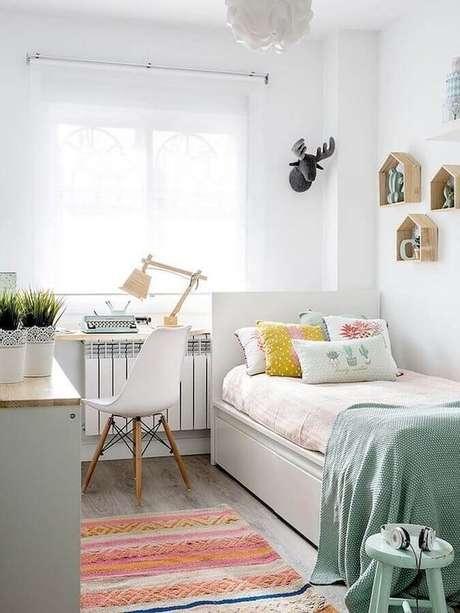 47. Decoração para quarto pequeno feminino simples – Foto Arkpad