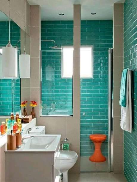 14. Azulejo para box de banheiro verde água. Foto: Simplichique