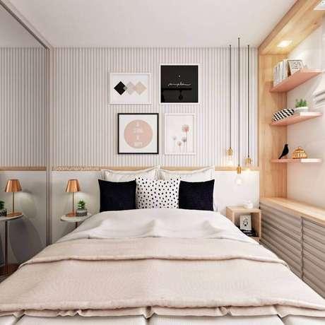 4. Papel de parede listrado delicado para quarto feminino pequeno decorado com móveis planejados – Foto Eu Capricho