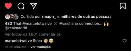 """Marcelo respondendo """"soon"""" (""""em breve"""", na tradução) (Foto: Reprodução)"""