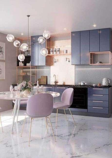 68. Cozinha com piso marmorizado branco – Foto Pinterest