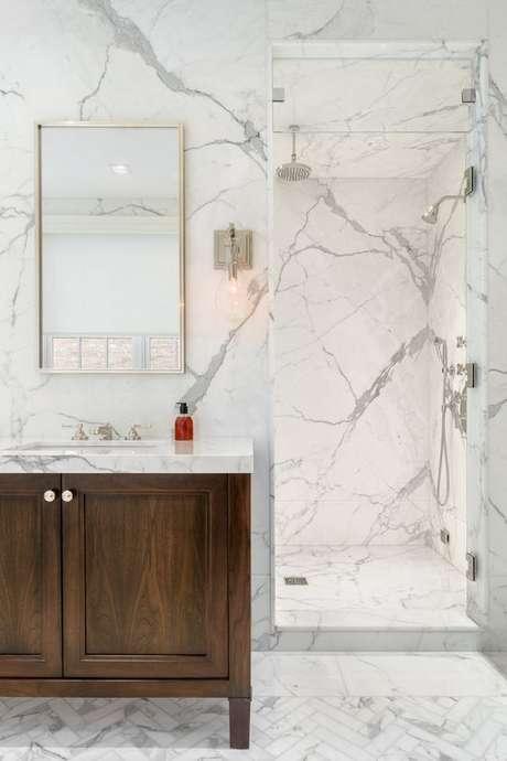 16. Revestimento marmorizado cinza moderno – Foto Artistic Tile