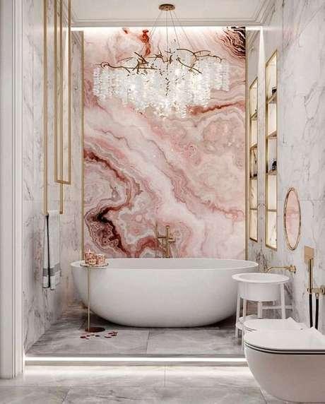 21. Revestimento marmorizado em tons de rosa – Foto Pinteret