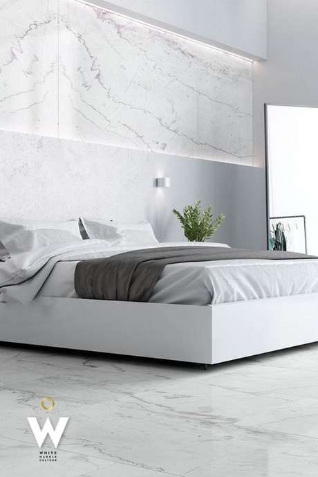 23. Revestimento marmorizado no quarto clean e sofisticado – Foto Stone Group