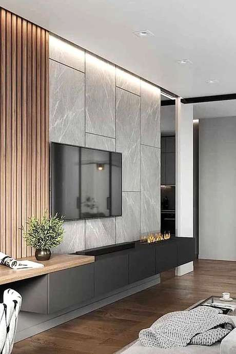 27. Revestimento marmorizado na sala de estar – Foto Poshpennies