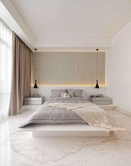 11. Quarto com piso revestimento marmorizado – Foto Revista VD