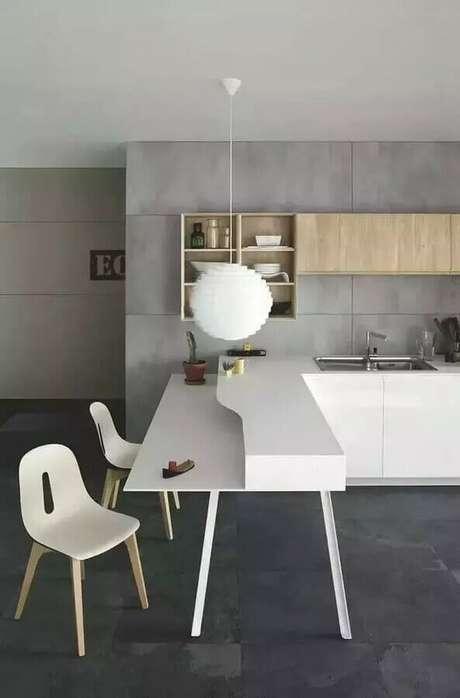 63. Luminária moderna para decoração de bancada de cozinha cinza -Foto Houzz