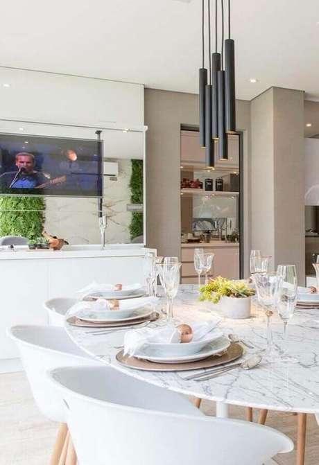 16. Decoração sofisticada com luminária para sala de jantar moderna – Foto Pinterest