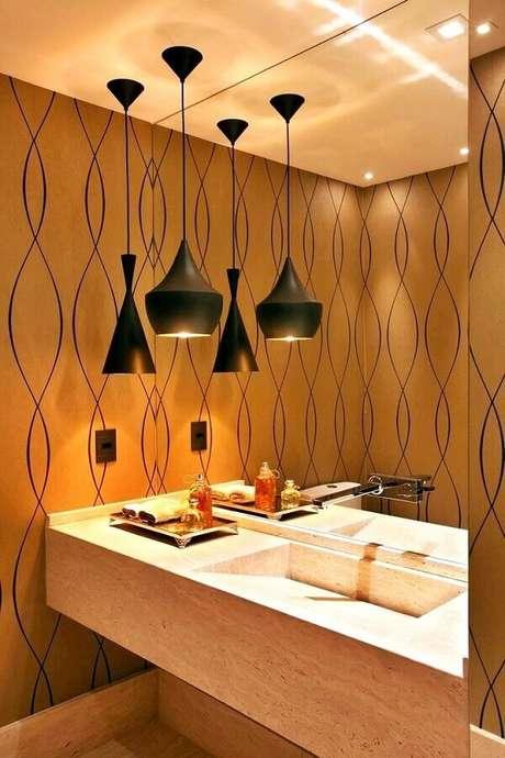 2. Decoração em cores neutras para lavabo com luminária moderna de teto – Foto Simples Decoração