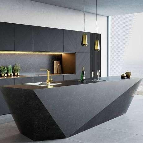 12. Decoração sofisticada com luminárias modernas para cozinha preta com ilha – Foto Futurist Architecture