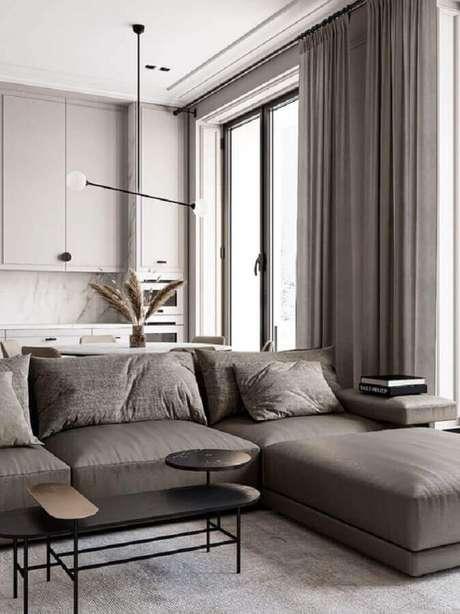 37. Luminárias modernas para sala de estar cinza integrada com a cozinha – Foto Behance