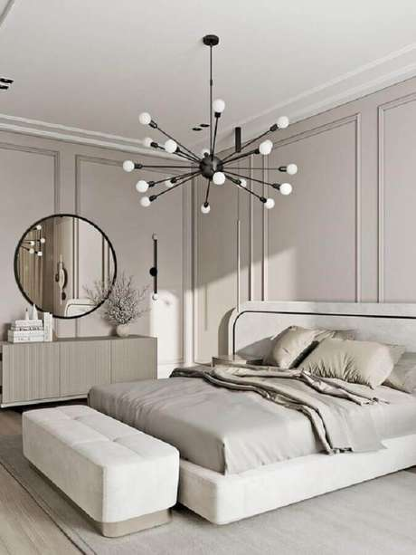 29. Luminária moderna para quarto de casal cinza claro – Foto Behance