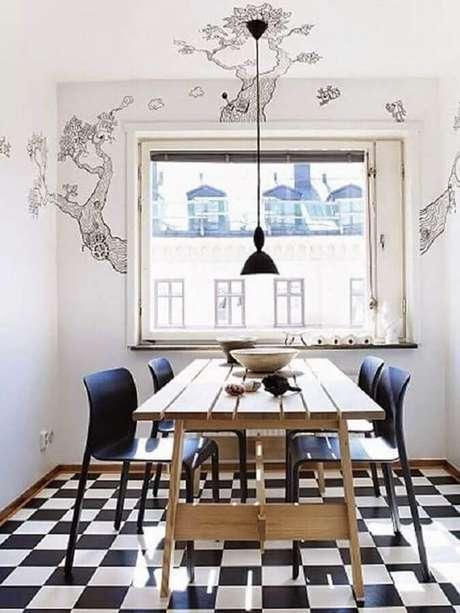 57. Piso preto e branco para decoração de sala de jantar simples – Foto Arquitrecos
