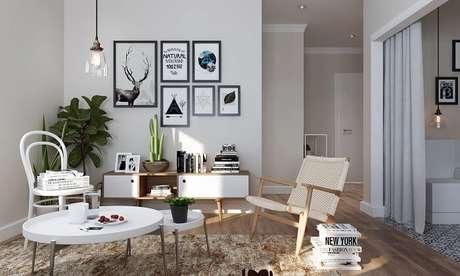 10. Sala branca com rack pe palito retrô – Foto Pinteret
