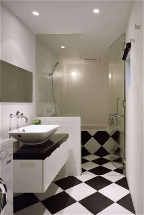 59. Piso preto e branco xadrez para decoração de banheiro pequeno Foto Home Fashion Trend